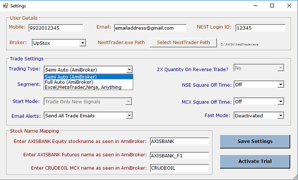 Auto Trading Software - AmiBroker or Excel to NEST Auto Trading